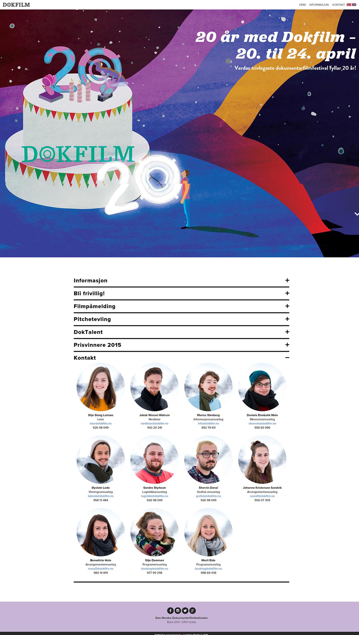 Skjermbilde av Den Norske Dokumentarfilmfestivalen sin nettside